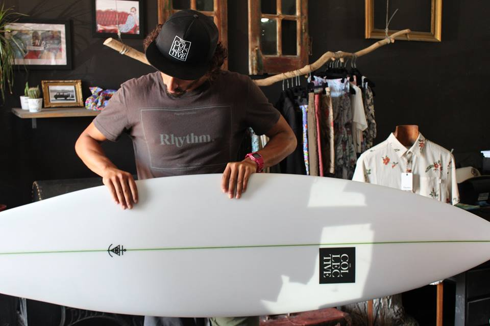 One of the custom made surfboards at THE COLLECTIVE Surf Shop